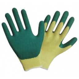 Guante algodon con palma latex verde